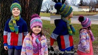 How To Crochet a childs Beanie \u0026 Keyhole Scarf | Hopscotch \u0026 Jellybeans | Crochet Tutorial #554
