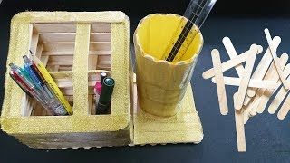 Diy Pen Stand With Ice Cream Sticks 365 Crafts Youtube To Repeat