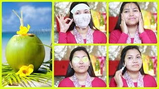 beauty tips get fair healthy spotless skin and healthy long hair by using coconut water