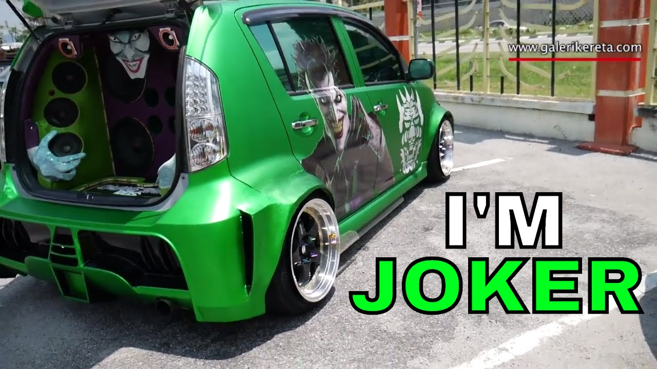 Matte green myvi modified with joker custom stickers galeri kereta youtube