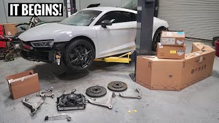 Rebuilding a Wrecked Audi R8! PARTS ARE HERE!