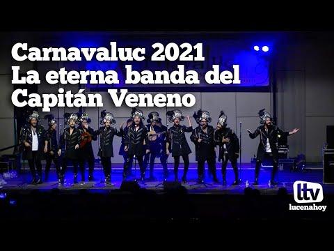 """VÍDEO: Carnavaluc 2021: La actuación de """"La eterna banda del Capitán Veneno"""" en el Auditorio de Lucena"""