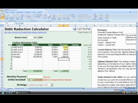 Debt Reduction Calculator - Vertex42 - YouTube - debt reduction calculator