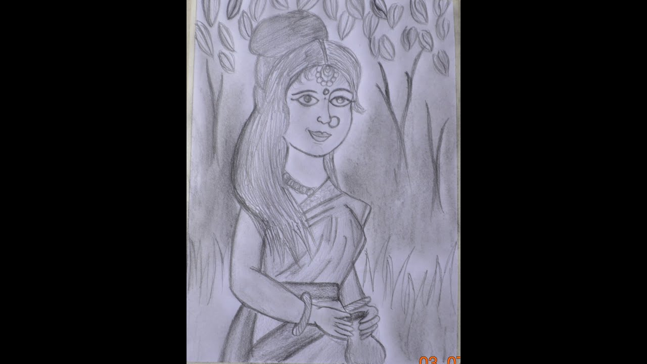 Pencil Shading | Village Girl - YouTube