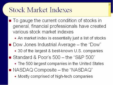BUS121 Chapter 12 - Stock Indexes; Numeric Measures - Slides 19 to 35