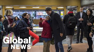 Canada Election: Trudeau greets supporters at Metro station following election win