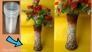 DIY II Flower pot made with disposable plastic glass