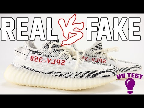 Real vs Fake adidas YEEZY Boost 350 V2 ZEBRA Legit Check UV Light