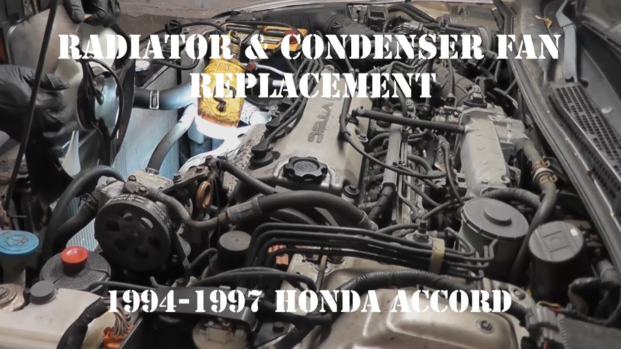 hight resolution of 1994 1997 honda accord radiator fan and condenser cooling fan replacement