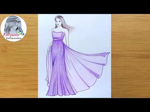 How to draw a girl with beautiful dress - step by step || Girl drawing