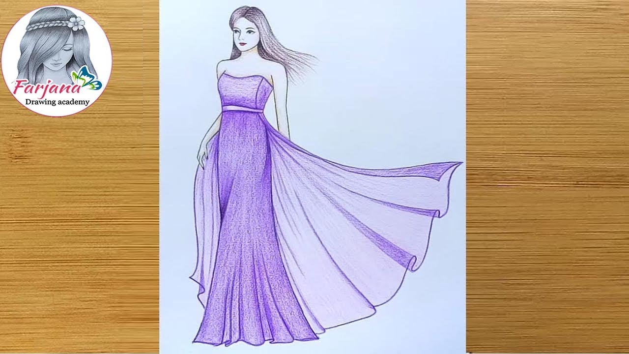 How To Draw A Girl With Beautiful Dress Step By Step Girl Drawing Art Video Youtube When youre rendering a wedding dress i usually have the potential bride sitting right beside me. how to draw a girl with beautiful dress step by step girl drawing art video