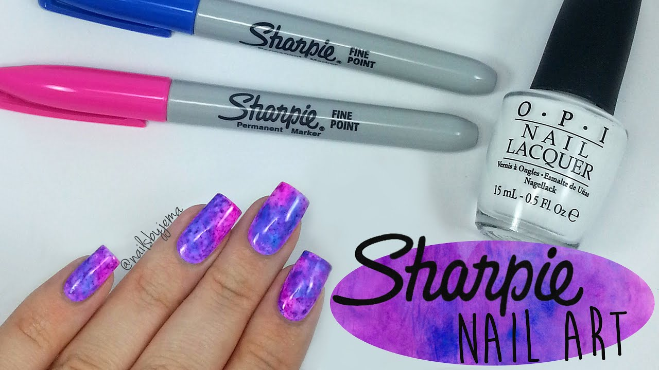 Sharpie Watercolour Nail Art - YouTube