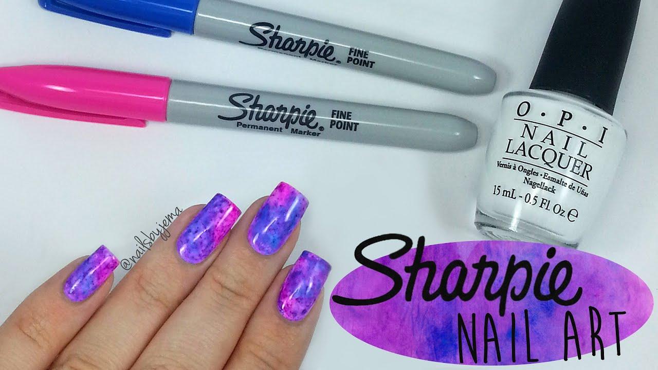 Sharpie Watercolour Nail Art Youtube