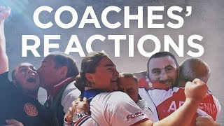 Weightlifting coaches react to their athlete's lifts