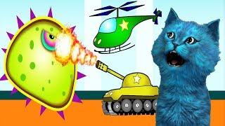 ХИЩНЫЙ СЛИЗЕНЬ напали ТАНКИ и ВЕРТОЛЁТЫ #4 Игра для детей про слизь КОТЁНОК ЛАЙК Mutant Blobs Attack