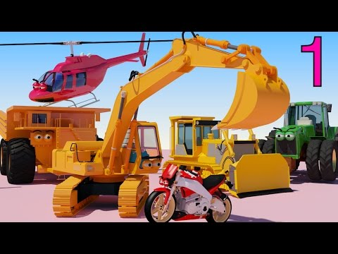 One HOUR of AApV Cartoons - Diggers, Trucks, Helicopters, Bulldozers, Cars for Children