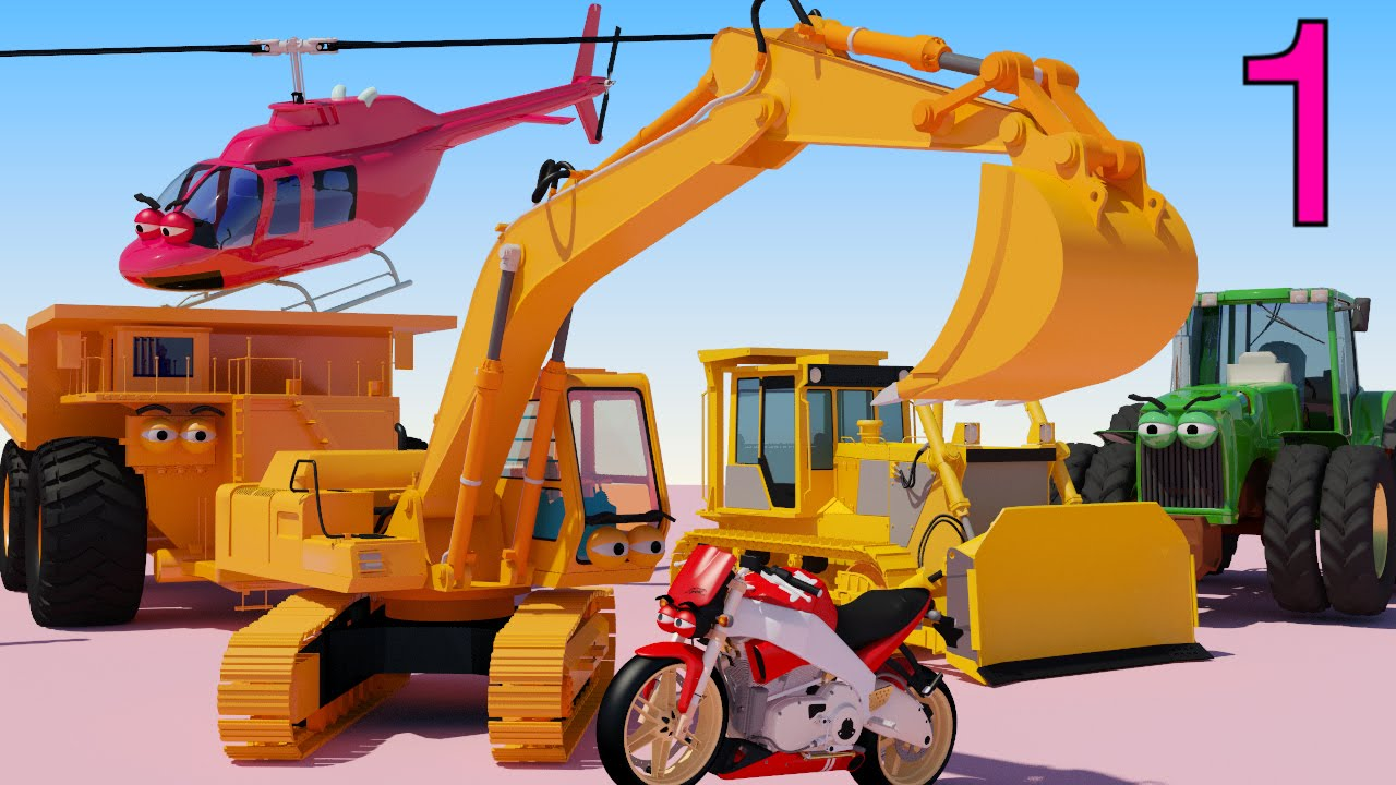 one hour of aapv cartoons diggers trucks helicopters bulldozers cars for children youtube