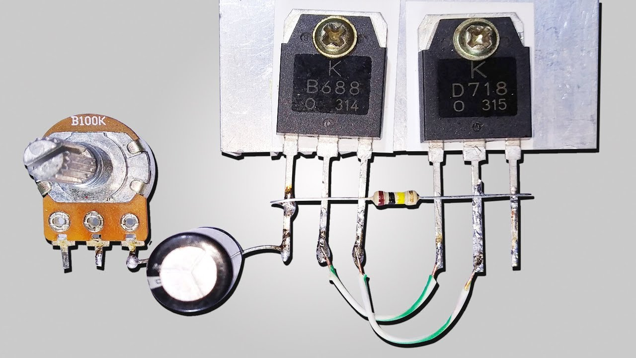 How TO Make Powerful Bass Amplifier Using (B688 + D718) Transistor     English Subtitle