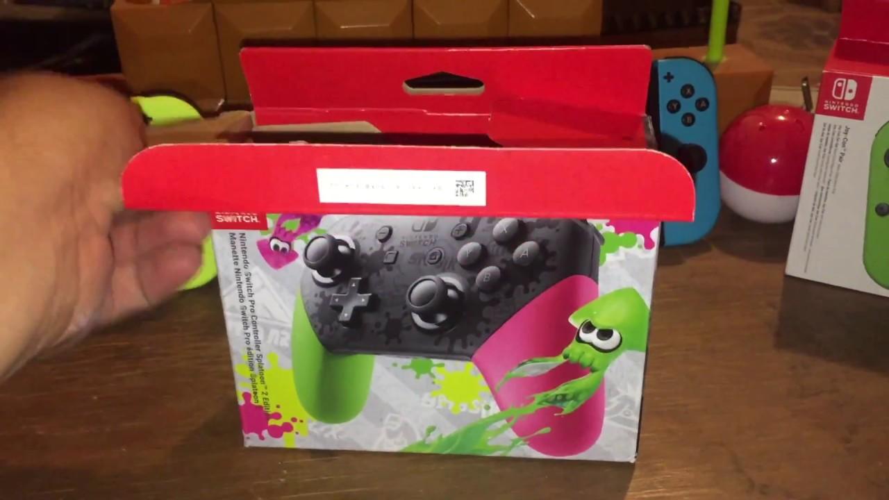 Unboxing Joy-Con Pair Neon Green/Pink + Pro Controller Splatoon 2 Edition