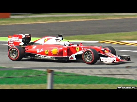 Formula 1 F1 2016 Cars PURE V6 Turbo Engine SOUND at Monza Circuit