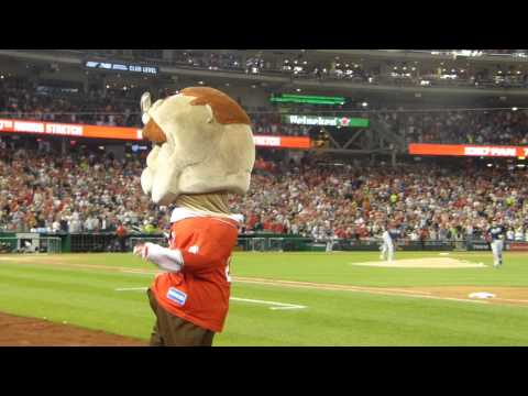 """Teddy the Racing President Leads Crowd in """"Take Me Out to the Ball Game"""""""