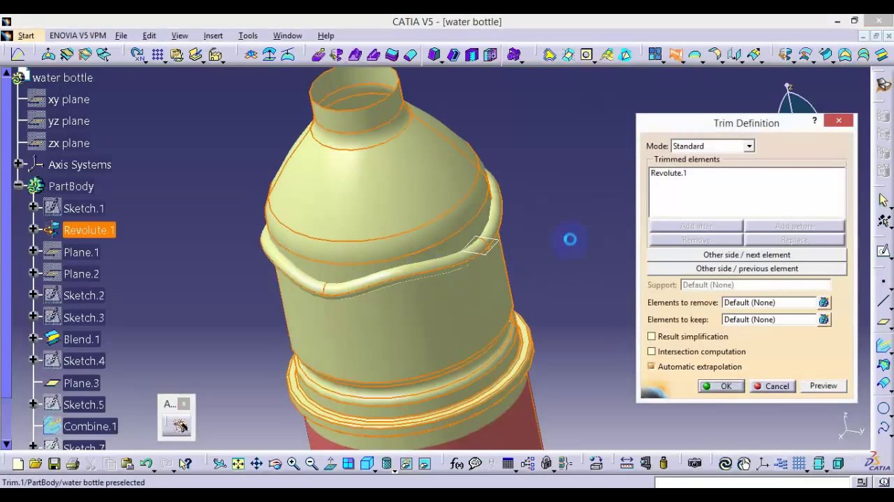 Design of bottle car jack - Catia How To Design A Water Bottle How To Add A Sticker On A Bottle
