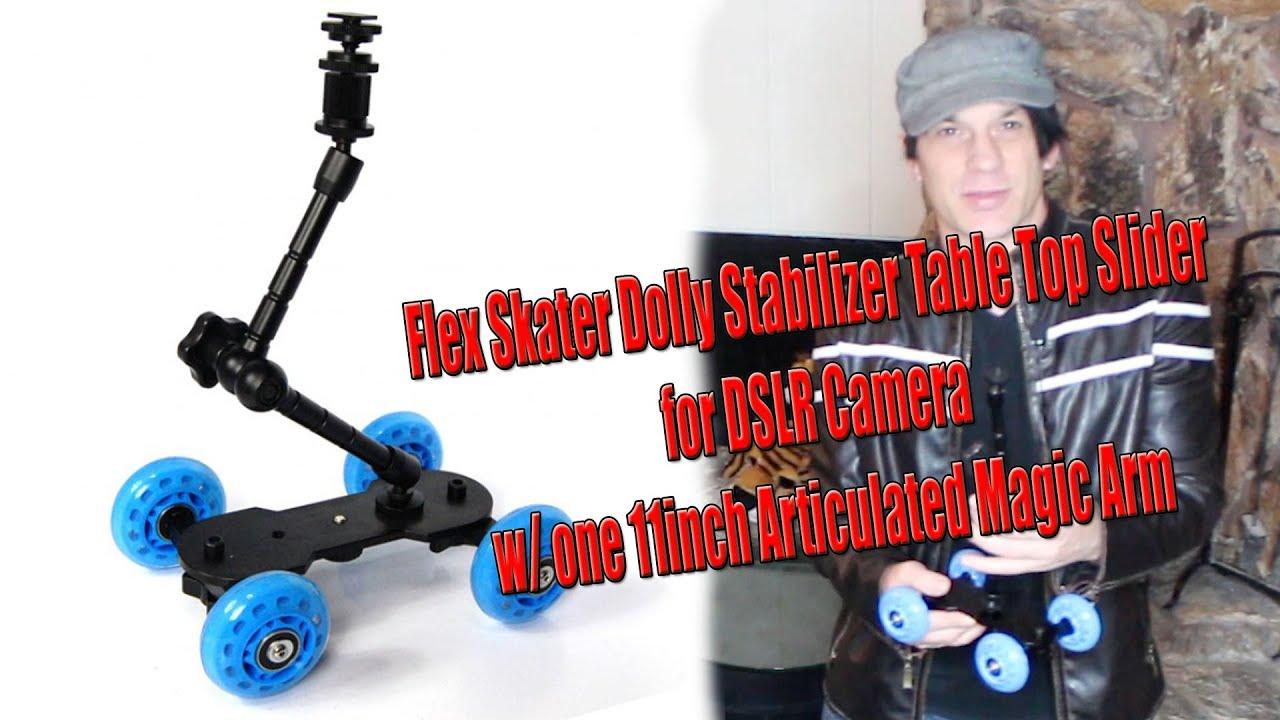 StudioPRO Premium Stabilizer Skate Dolly with Arm Table Top Slider for DSLR Camera