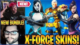 """Streamers React to the *NEW* """"PSYLOCKE"""", """"DOMINO"""" & """"CABLE"""" Skins (X-FORCE BUNDLES)"""