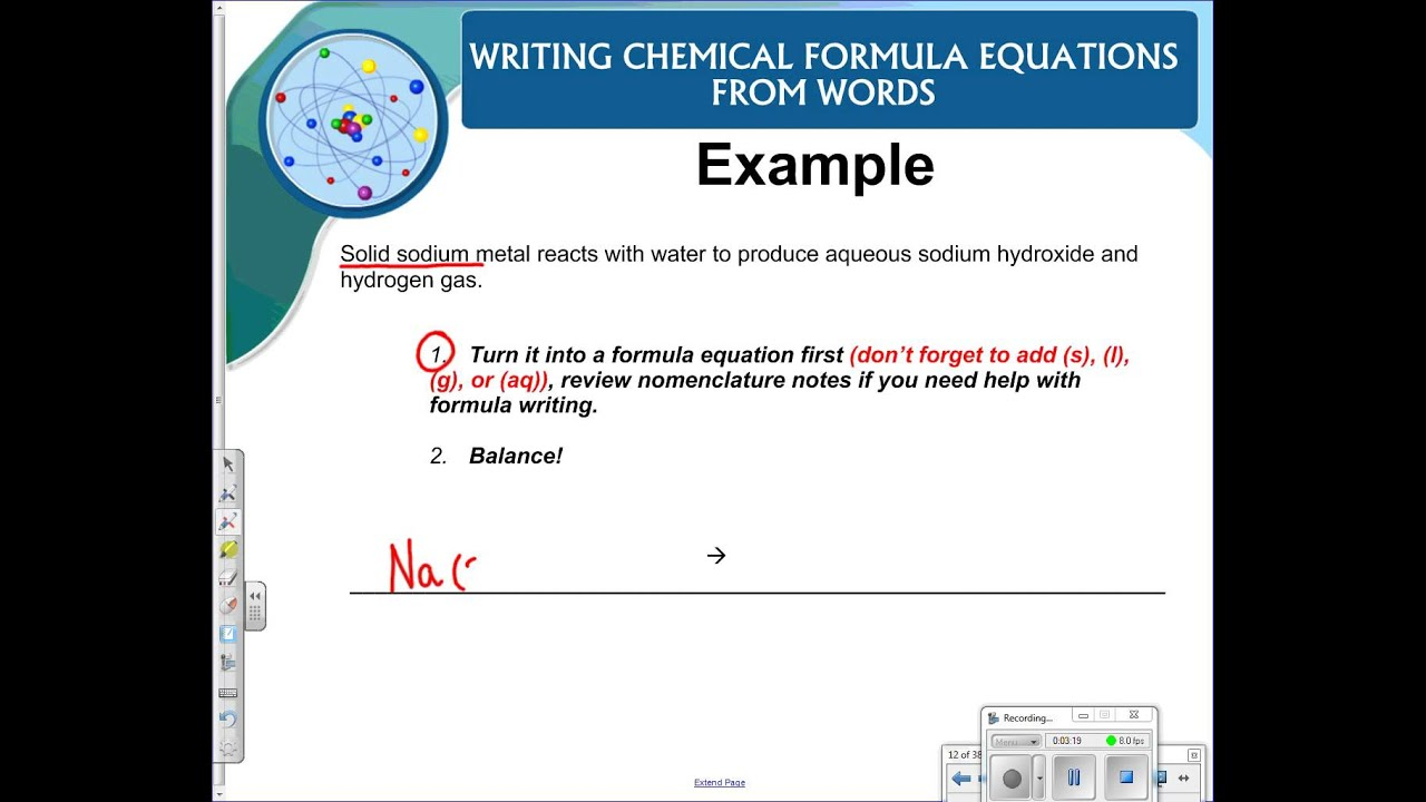 Writing Chemical Formula Equations From Word Equations Youtube