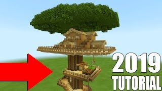 """Minecraft Tutorial: How To Make A Wooden Survival Tree house """"2019 Tutorial"""""""