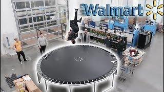 WE BUILT A TRAMPOLINE INSIDE OF WALMART! (CRAZY FLIPS)