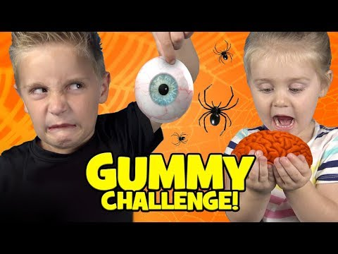 Halloween Gummy Food Challenge! Brains Eyes & Freaky Candy!