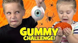 Halloween Gummy Food Challenge! Brains Eyes & Freaky Halloween Candy!
