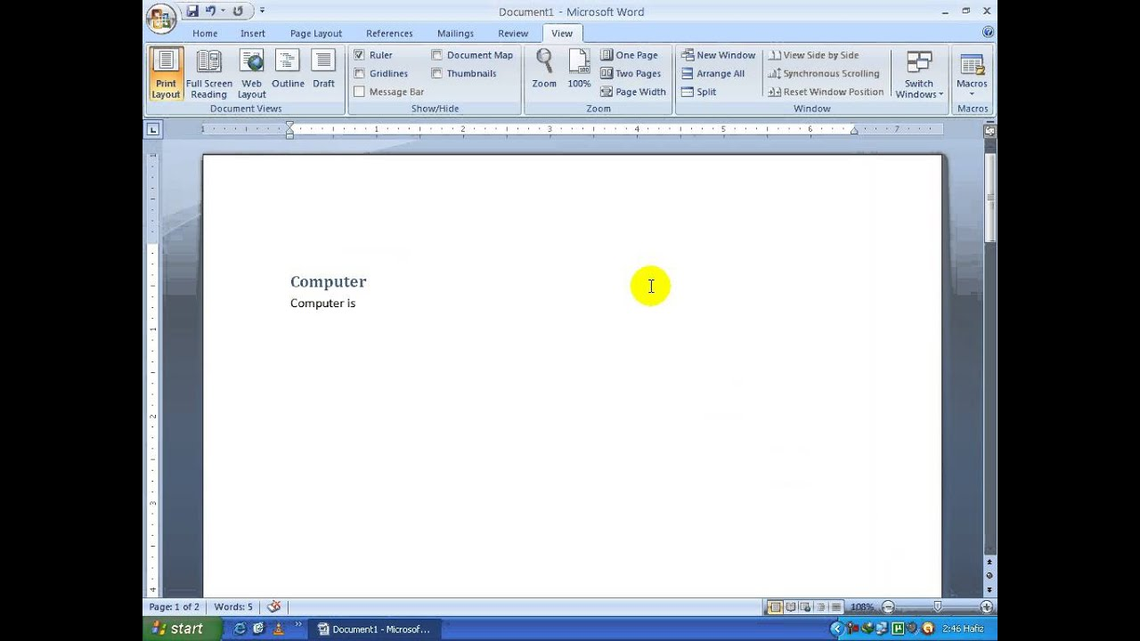 microsoft office word in telugu view tab part  microsoft office word 2007 in telugu view tab part 16 timecomputers in