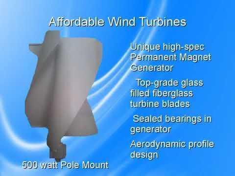 Affordable Wind Turbines 500  watt pole mount wind turbine