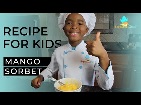 Recipes For Kids: 3-Ingredient Mango Sorbet (Super Easy) | Step Stool Chef