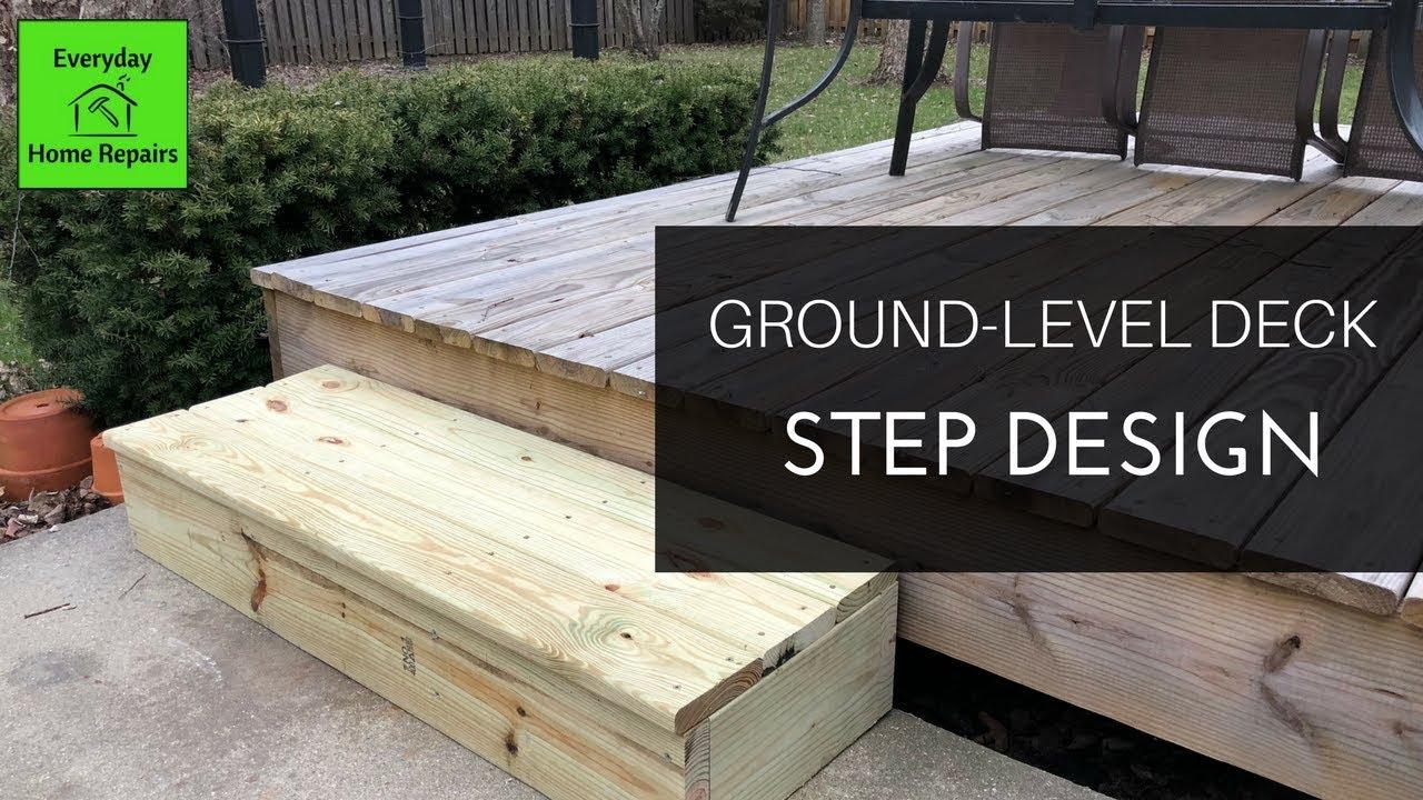 How To Build A Simple Deck Step Youtube   Back Door Step Designs   Stone Veneer   Step Down   Paver   Brick   Block Paving Step