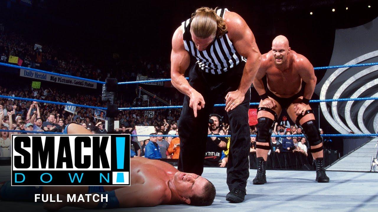 "Download FULL MATCH - The Rock, ""Stone Cold"" & Undertaker vs. Angle, Kane & Rikishi: SmackDown, Jan. 18, 2001"
