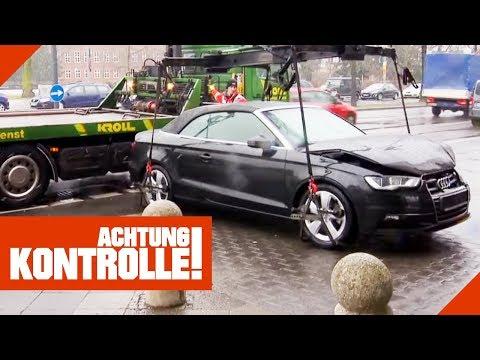 Schwerer als gedacht! Unfall-Audi muss schnell abgeschleppt werden!   Achtung Kontrolle   kabel eins