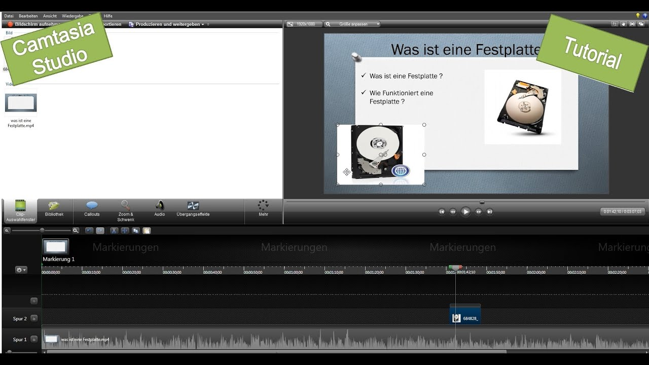 Camtasia Studio Bild in Video einfügen - YouTube