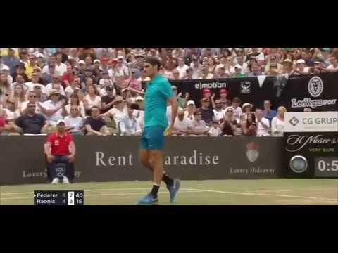Federer half volley vs Raonic in Stuttgart