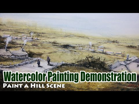 Watercolor Landscape Painting Demo/Tutorial (35) – Paint a Hill Scene / 水彩画 風景画 描き方 メイキング