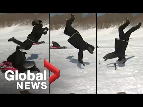 Reporter flipped funny sled accident [OFFICIAL VIDEO]