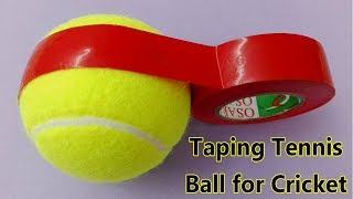 how to tape a tennis ball for Cricket : Taping tennis ball