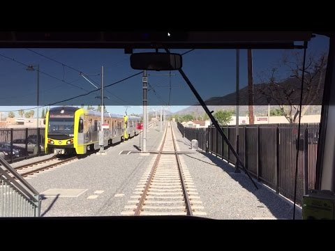 LA Metro Rail HD 60fps: AnsaldoBreda P2550 Gold Line Cab Ride (APU/Citrus College-Union Station)