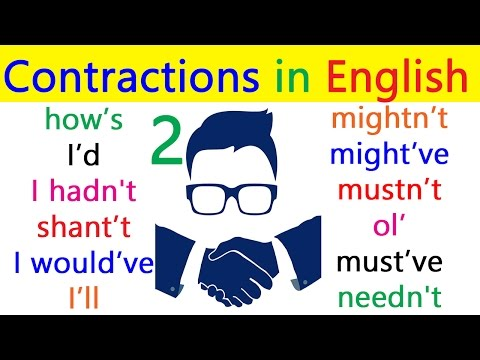 English contractions pronunciation with example sentences, Learn English grammar through Hindi Urdu