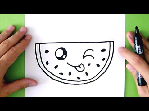 HOW TO DRAW A CUTE WATERMELON - SUPER EASY
