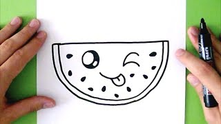 HOW TO DRAW A CUTE WATERMELON - SUPER EASY thumbnail