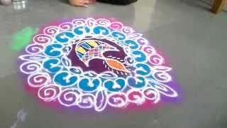 how to draw sanskar bharati rangoli with diya for diwali