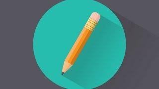 Процесс рисования иконки карандаша в Adobe Illustrator